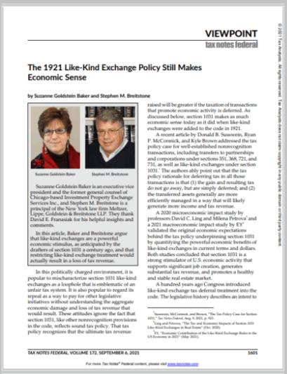 Suzanne Goldstein Baker Tax Notes September 2021